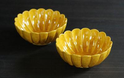 京焼 黄交趾菊形鉢