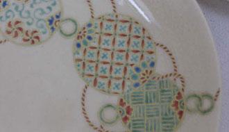 京焼 色絵毬紋5寸皿