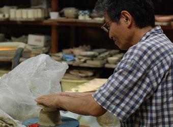 京焼 菊形小皿ー型おこし