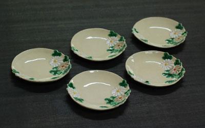 京焼 色絵菊形小皿