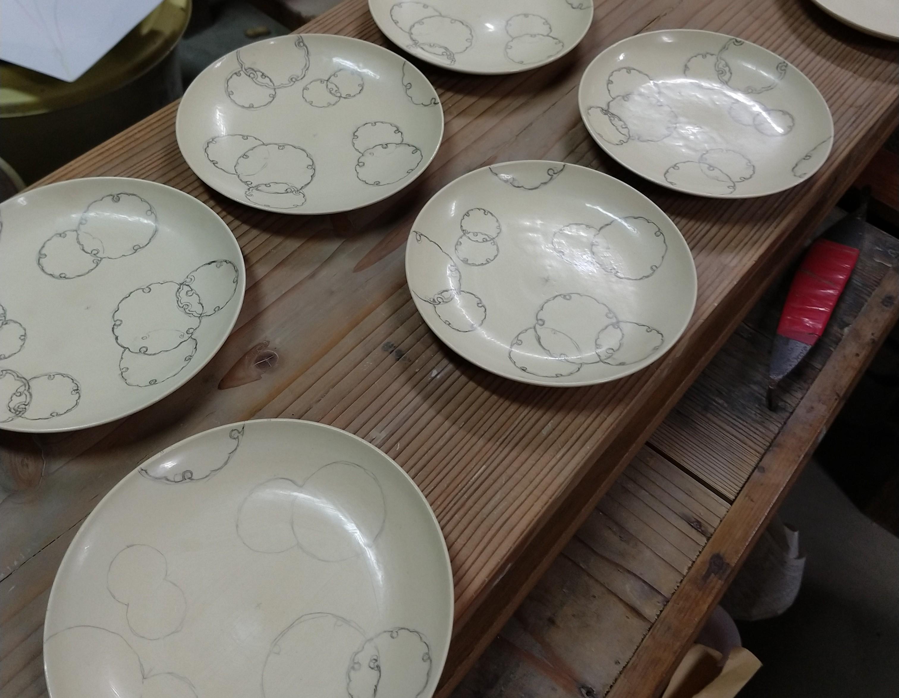 雪輪紋4寸皿ー割付け