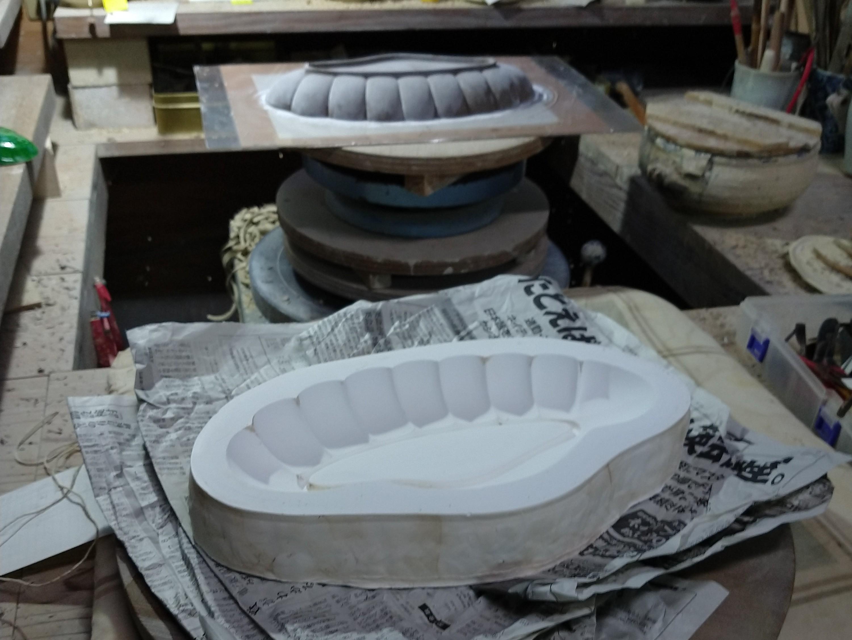 松大皿−石膏流し