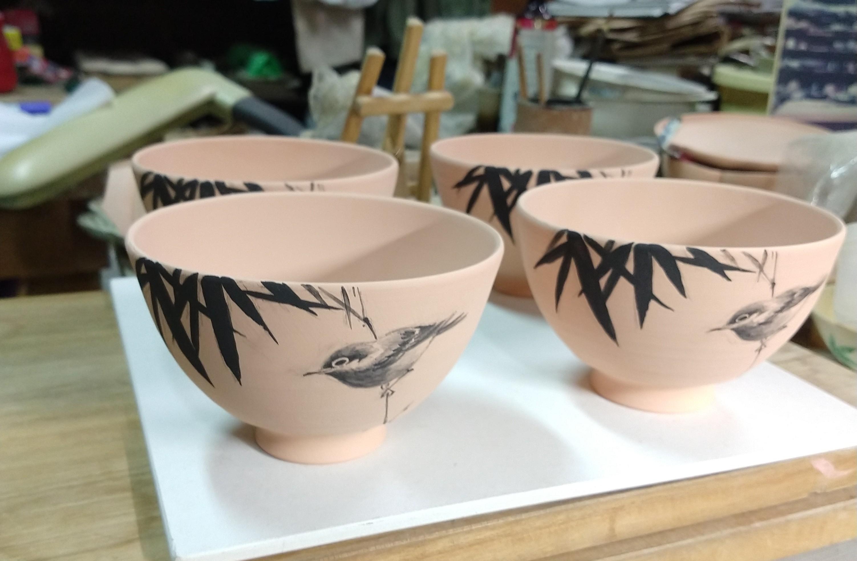 藪に鶯茶碗−絵付け
