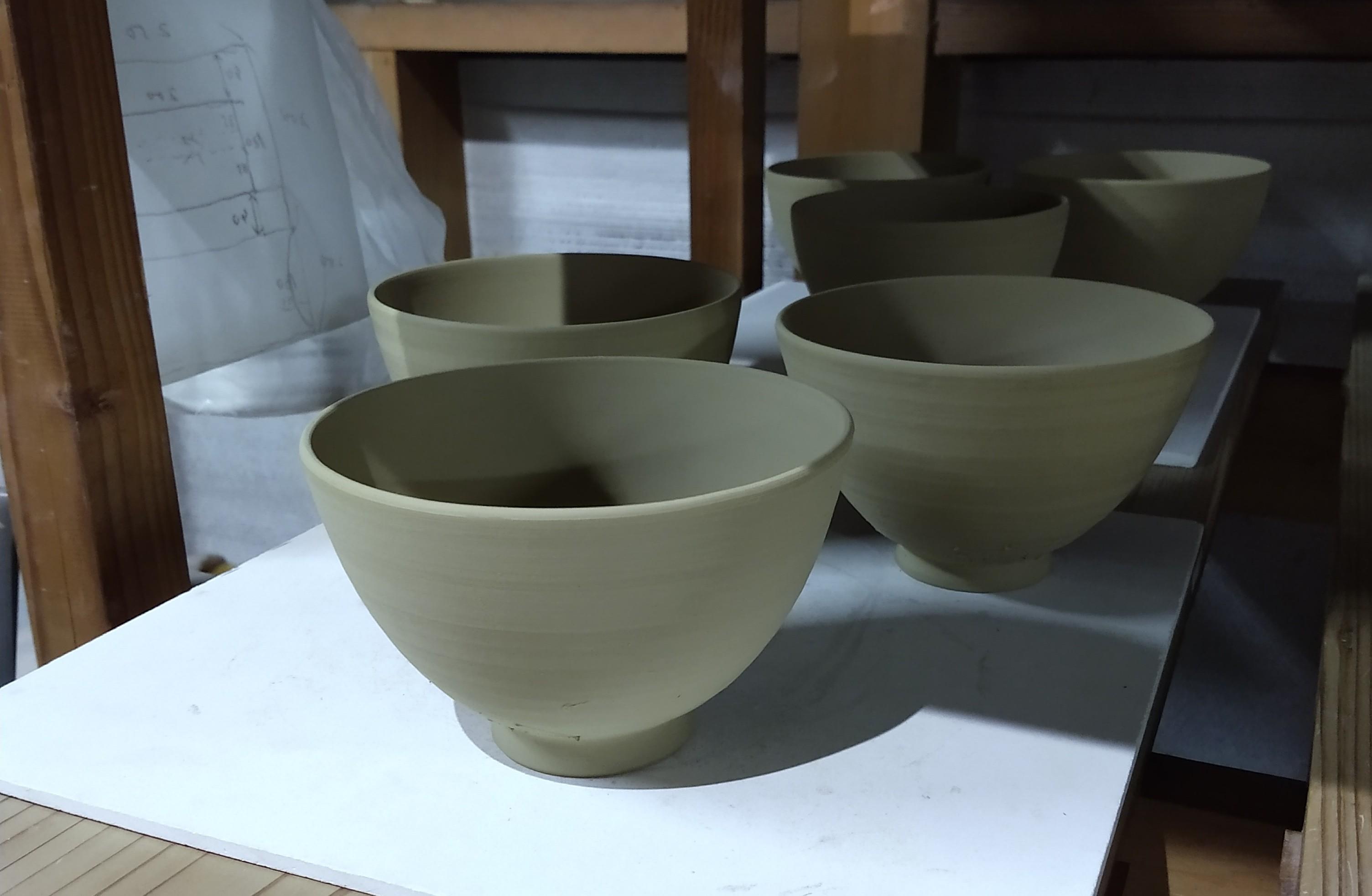 藪に鶯茶碗ー削り仕上げ