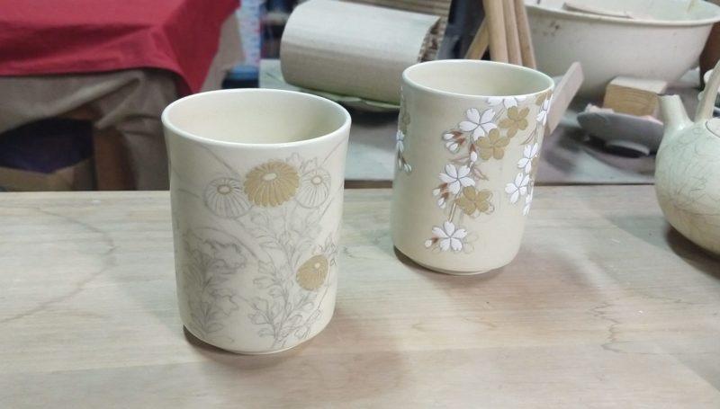 枝垂桜紋湯呑